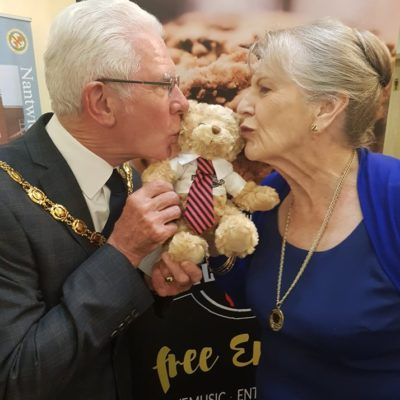 Mayor And Consort With Food Festival Bear - Click to open full size image