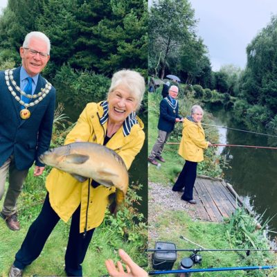 Mayor And Consort With Fish At Junior Fishing Competition - Click to open full size image