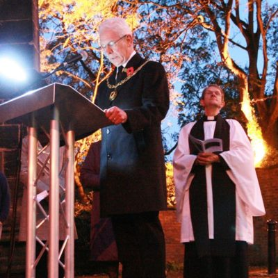 Mayor Speaking At Tree Of Light Service - Click to open full size image