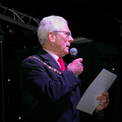 Mayor Speaking At The Christmas Lights Switch On