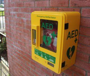 A Public Wall Mounted Defibrillator