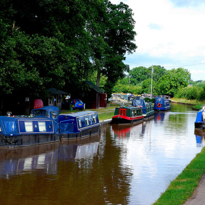 Boats And Pedestrians Along Nantwich Canal - Click to open full size image