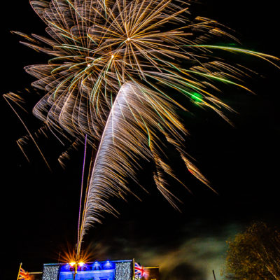 Christmas Lights On Civic Hall With Firework Display