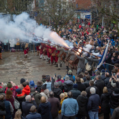 Gun Shots With Crowd During Battle Of Nantwich Display On Town Square