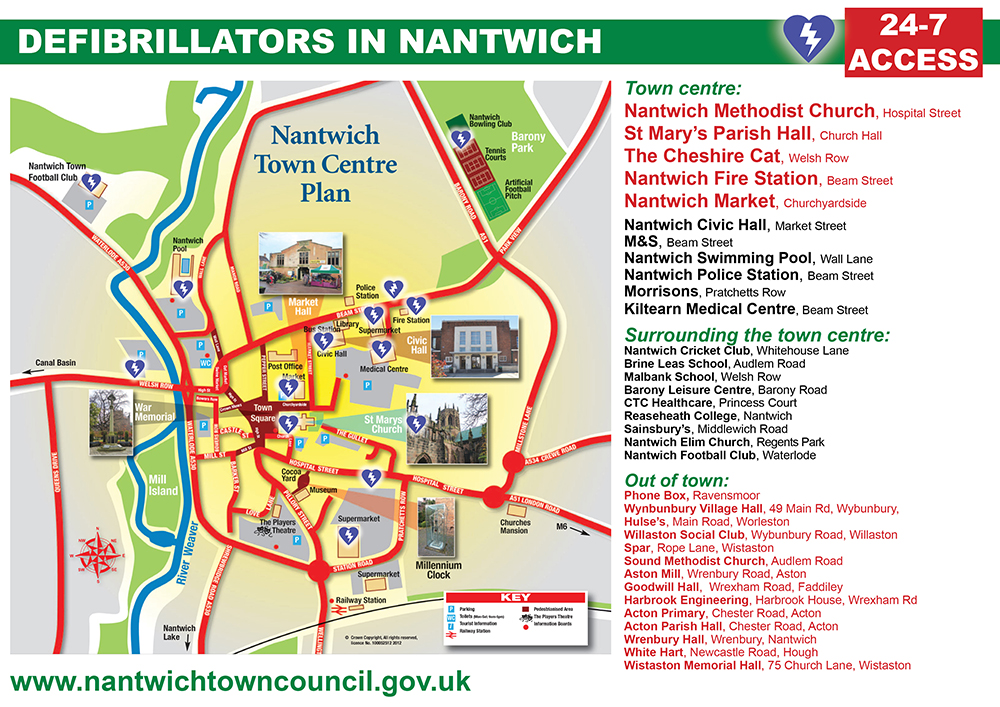 Map Of Defib Locations In Nantwich