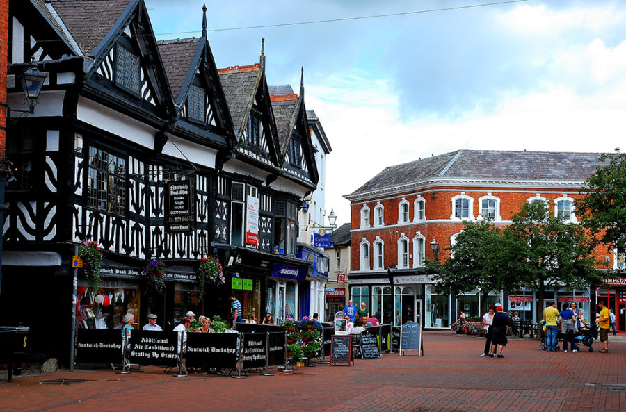 Nantwich Town Centre Showing Some Tudor Buildings