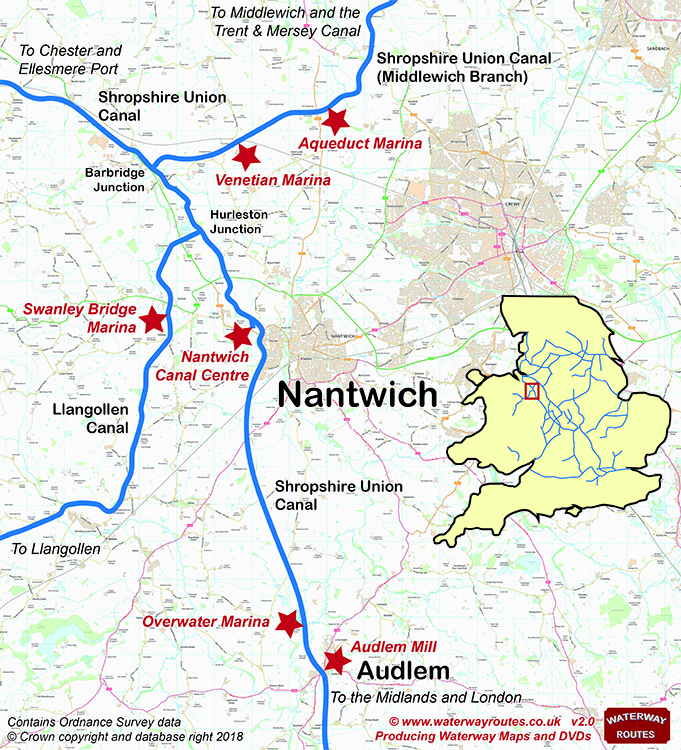 Map of Canals and Marinas surrounding Nantwich