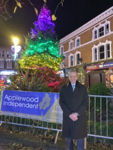 David Prtichard of Applewood Independent at the Christmas Tree
