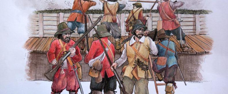 Fighting For The Town. Painting By Les Pickford