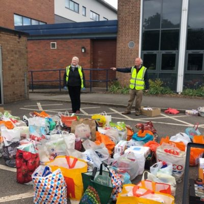 Maureen Coulter With Food Donations