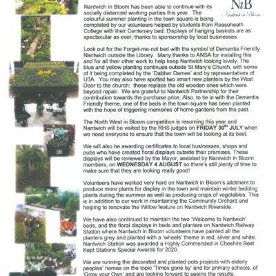 Nantwich In Bloom Summer newsletter 2021